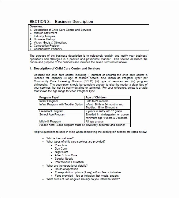 Daycare Business Plan Template Free Download Lovely Daycare Business Plan Template 14 Free Word Excel Pdf
