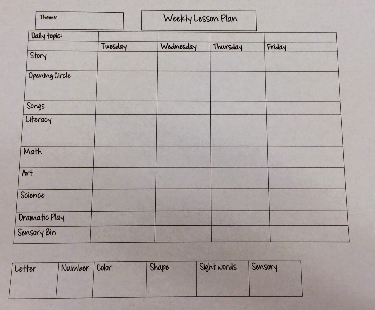 Daycare Lesson Plan Template Awesome Miss Nicole S Preschool Weekly Lesson Plan Template