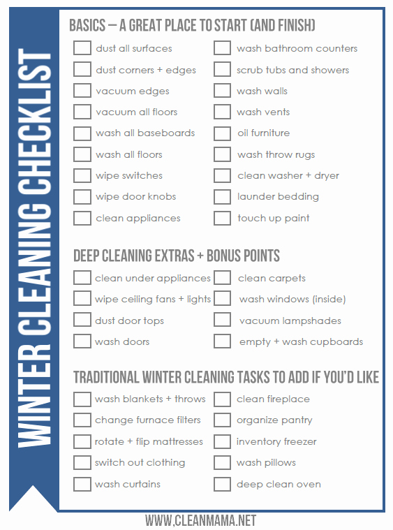 Deep Cleaning Checklist for Housekeeper Awesome Free Winter Cleaning Checklist Clean Mama