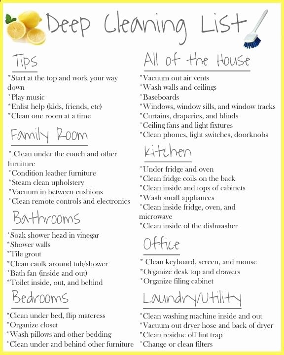 Deep Cleaning Checklist for Housekeeper Best Of House Cleaning Deep House Cleaning Checklist