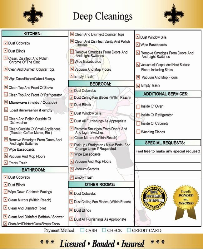 Deep Cleaning Checklist for Housekeeper Elegant Deep Cleaning Services In New orleans & Metairie