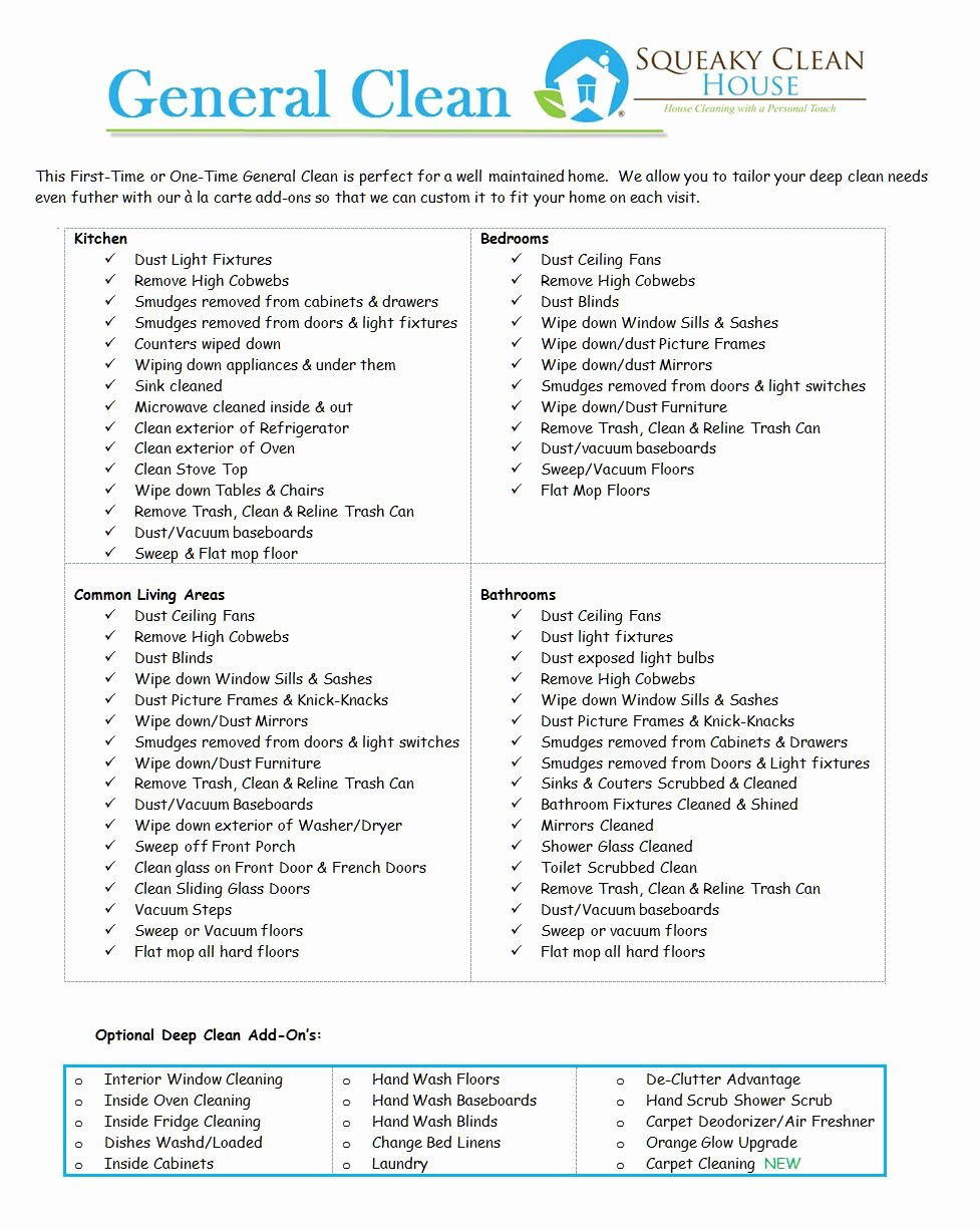 Deep Cleaning Checklist for Housekeeper Inspirational General Clean Image Home Pinterest