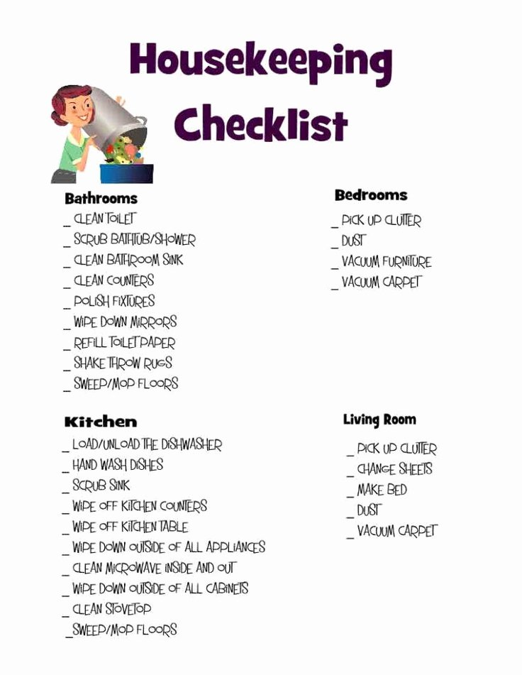 Deep Cleaning Checklist for Housekeeper Inspirational Housekeeping Checklist Clean It Up