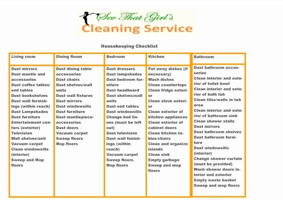 Deep Cleaning Checklist for Housekeeper New Housekeeping Checklist Related Cleaning Pics