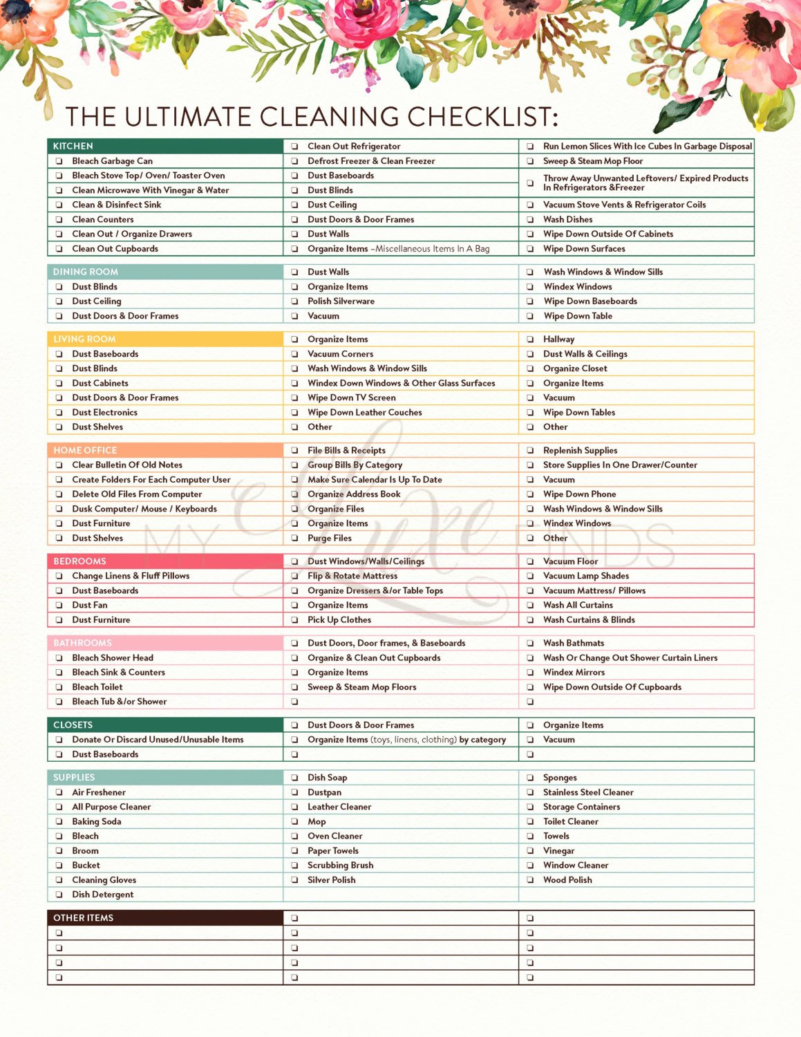 Deep Cleaning Checklist for Housekeeper New the Ultimate House Cleaning Checklist Printable Pdf