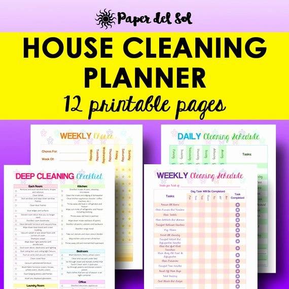 Deep Cleaning Checklist for Housekeeper Unique Cleaning Schedule Cleaning Planner Printable Home organizer