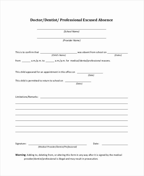 Dental Excuse Letter for Work Best Of 8 Doctor Note Examples & Samples