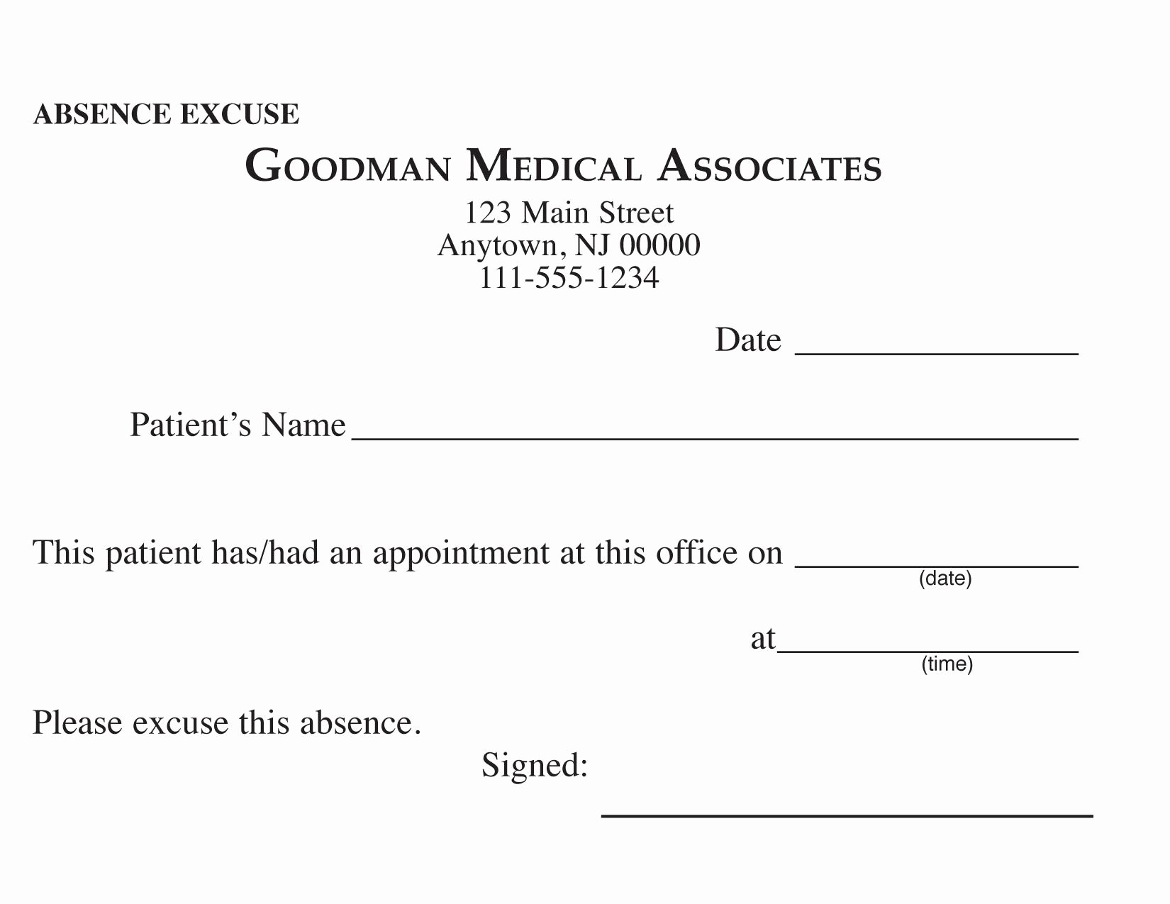 Dental Excuse Letter for Work Lovely Blank Printable Doctor Excuse form