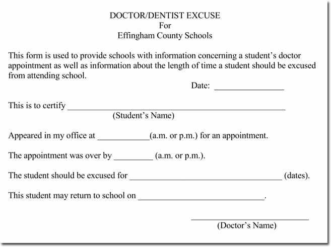 Dental Excuse Note Unique Doctor S Note Templates 28 Blank formats to Create