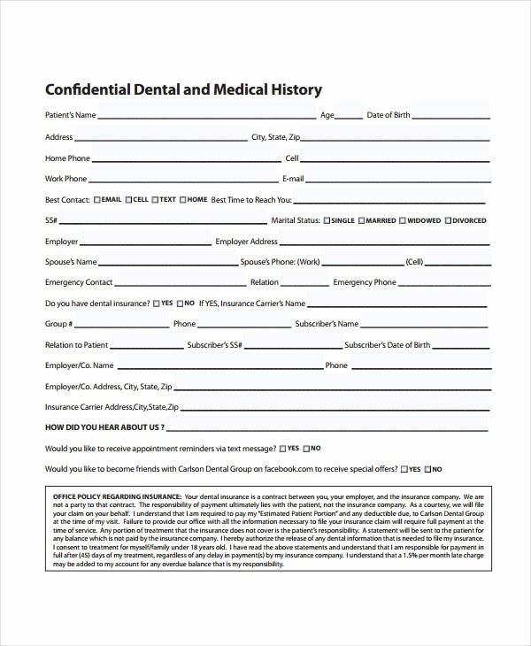 Dental Patient forms Template Best Of Medical History form 9 Free Pdf Documents Download