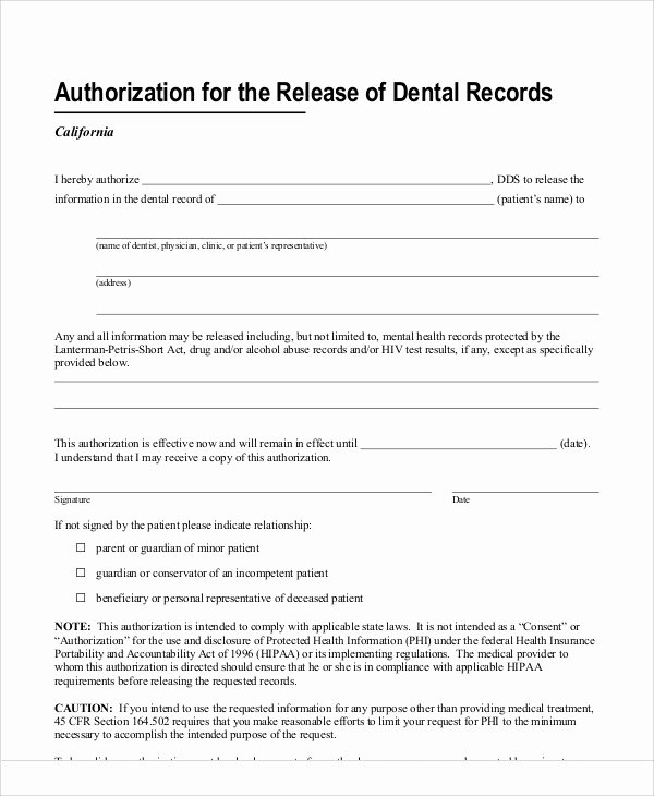 Dental Patient forms Template Fresh 11 Sample Dental Release forms