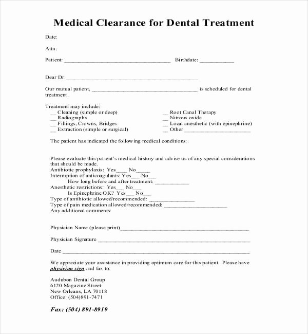 Dental Patient forms Template Fresh Medical Clearance form for Dental Treatment