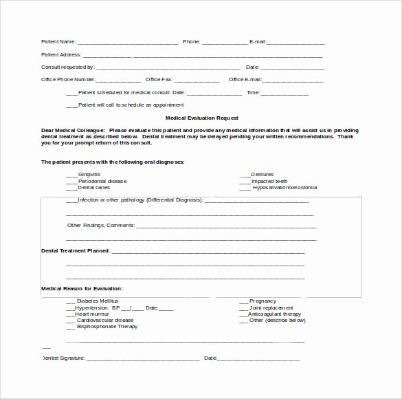 Dental Patient forms Template Fresh Sample Medical Consultation form 11 Download Free