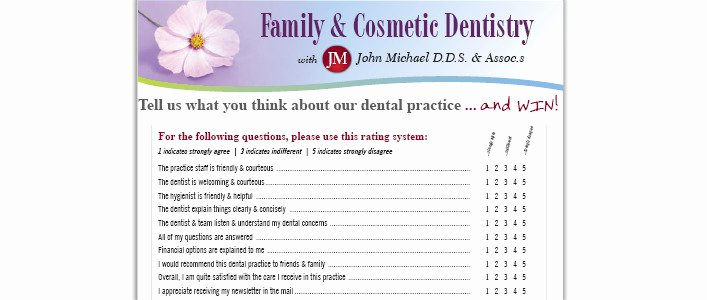 Dental Patient forms Template Inspirational Dental Patient Satisfaction Survey Questionnaire