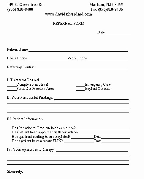 Dental Patient forms Template Inspirational Line Referral form Marlton Nj