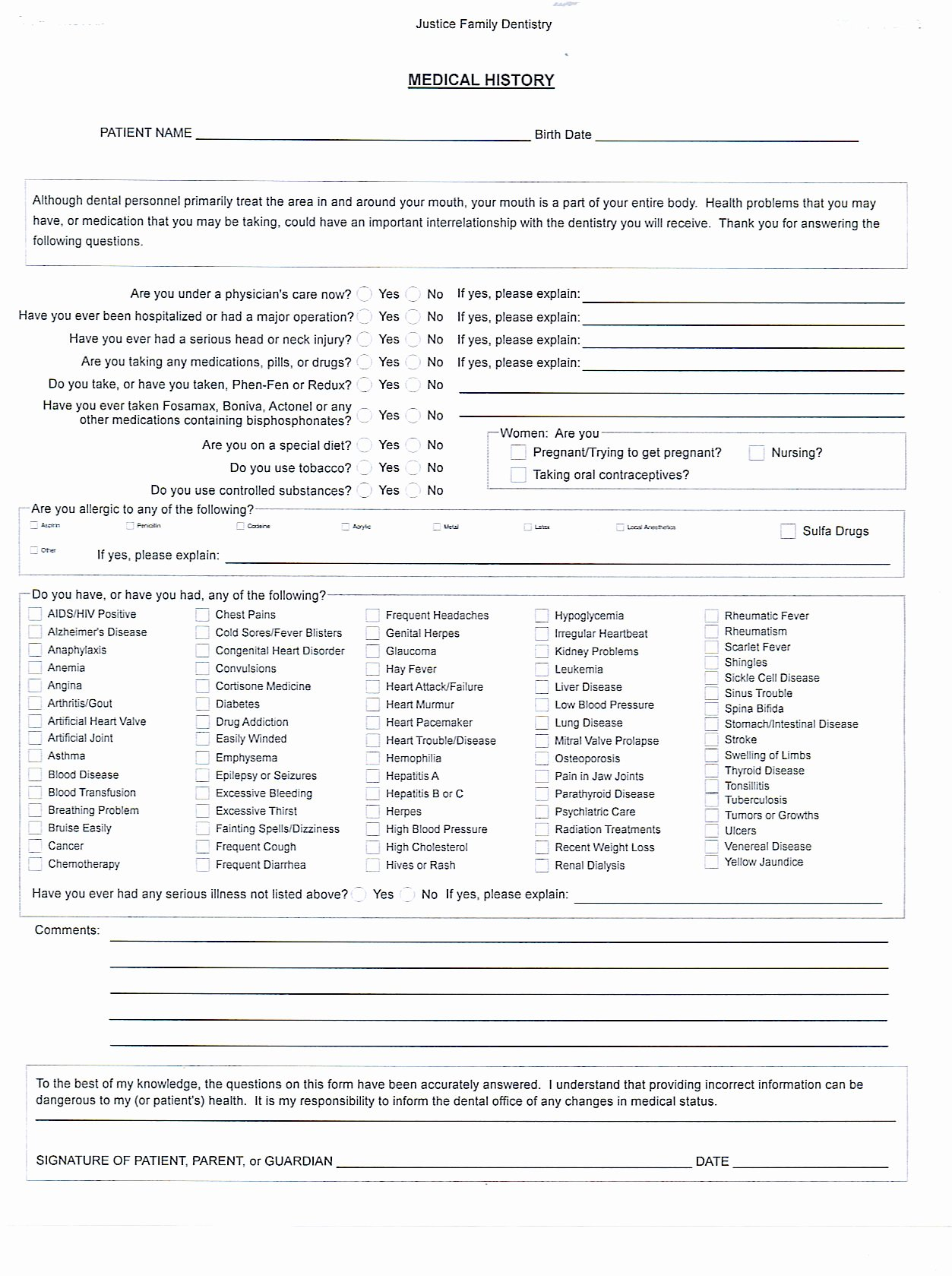Dental Patient forms Template Lovely Medical History form – Medical form Templates