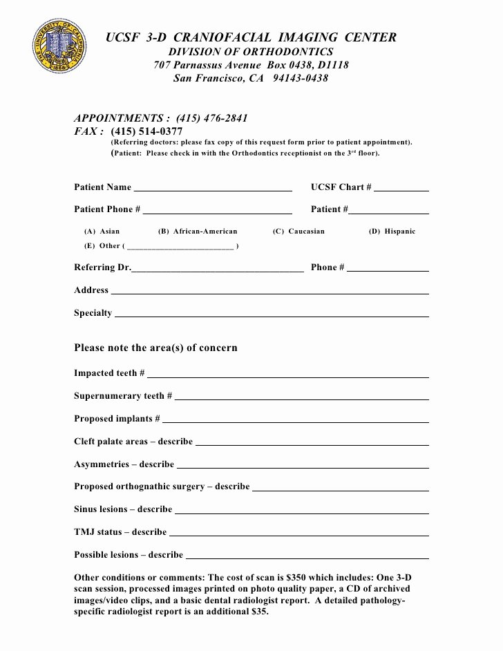 Dental Patient forms Template Luxury Ucsf Cbct Referral form