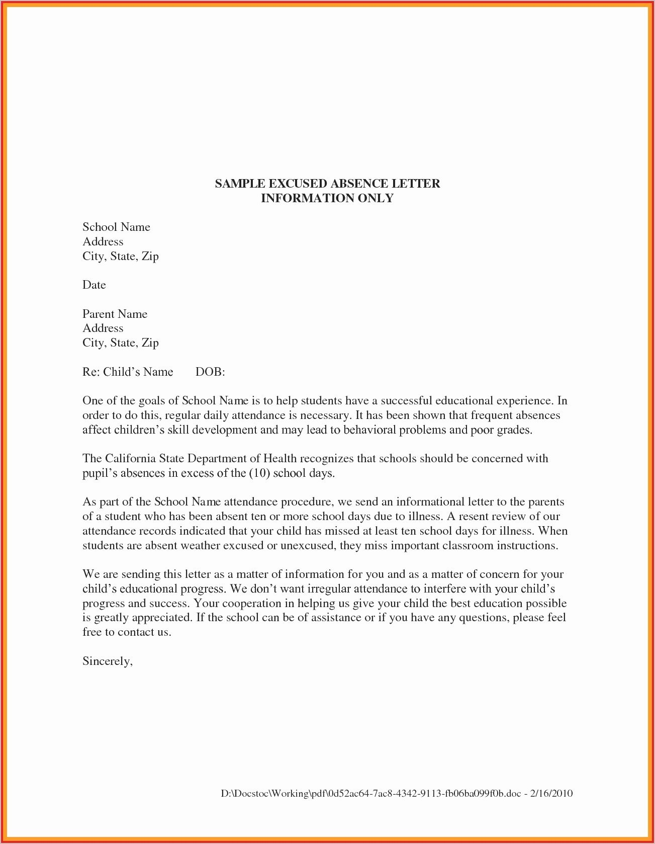 Dentist Excuse Letter for School Inspirational 11 12 Letter Of Excuse From Work