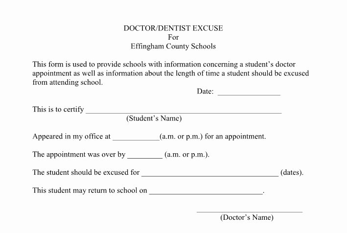 Dentist Excuse Template Beautiful 25 Free Doctor Note Excuse Templates Template Lab
