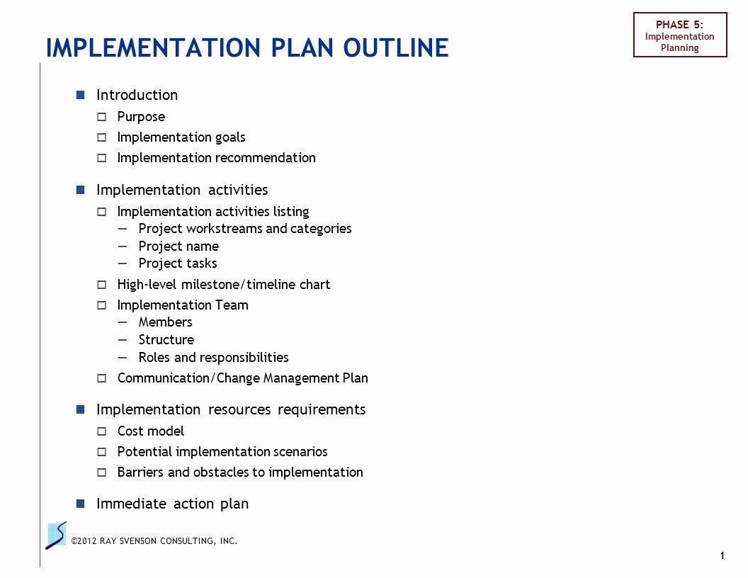 Deployment Plan Project Management Best Of Implementation Plan Outline Ppt Video Online