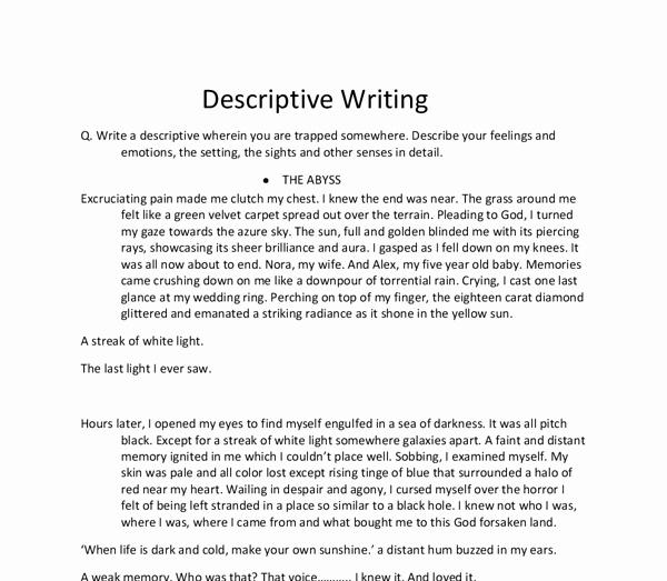 Descriptive Essay Examples College Elegant Write A Descriptive wherein You are Trapped somewhere