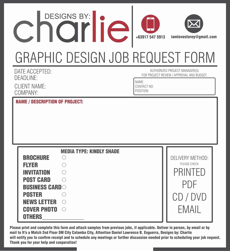 Design Request form Template Awesome Job order form Graphic Design Pinterest