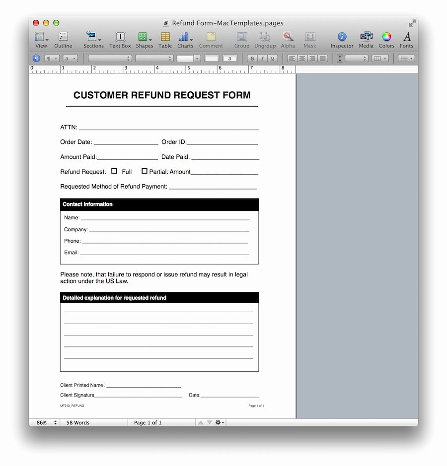 Design Request form Template Luxury Refund Request form Template for Apple Pages & Pdf
