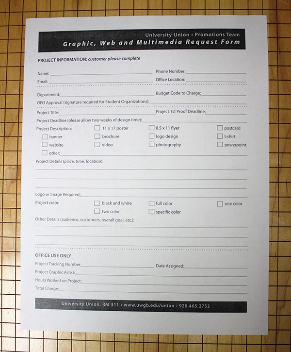 Design Request form Template New Uwgb Graphic Request form On Behance