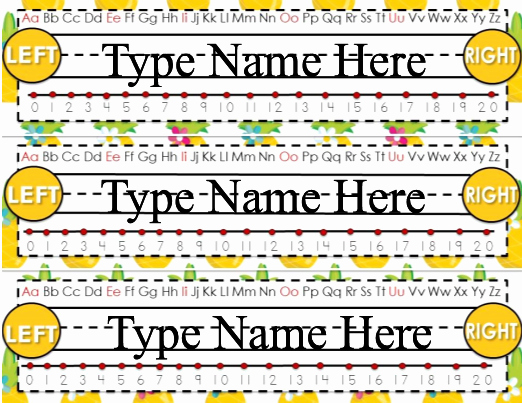 Desk Name Tag Template Beautiful Desk Name Tags Editable Pineapple theme
