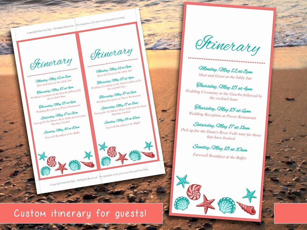 Destination Wedding Itinerary Template Best Of Beach Wedding Itinerary Template Wedding Planner Coral