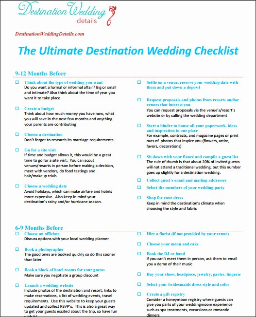 Destination Wedding Itinerary Template Elegant Checklist for Destination Wedding