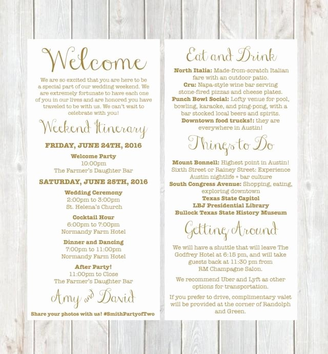 Destination Wedding Itinerary Template Inspirational Wel E Letter Weekend Itinerary Wedding Itinerary Gold
