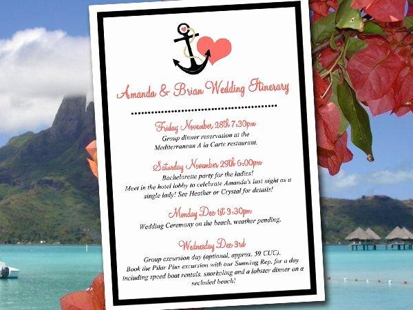 "Destination Wedding Itinerary Template New Beach Wedding Itinerary Template Wedding Planner ""anchor"
