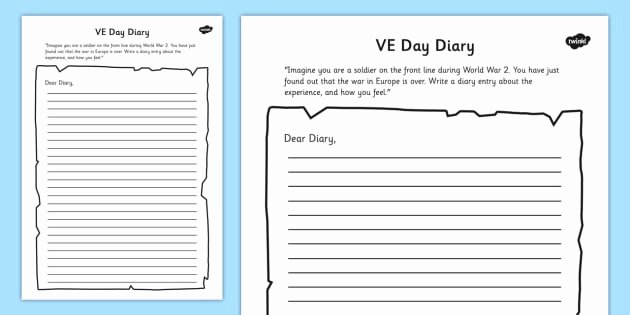 Diary Entry Template Word Best Of Ve Day Diary Writing Template Ve Day Diary Writing