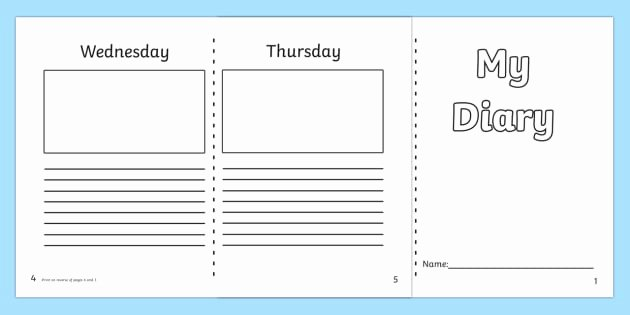 Diary Entry Template Word Elegant 7 Day Diary Writing Frame Esl Diary Writing Resources