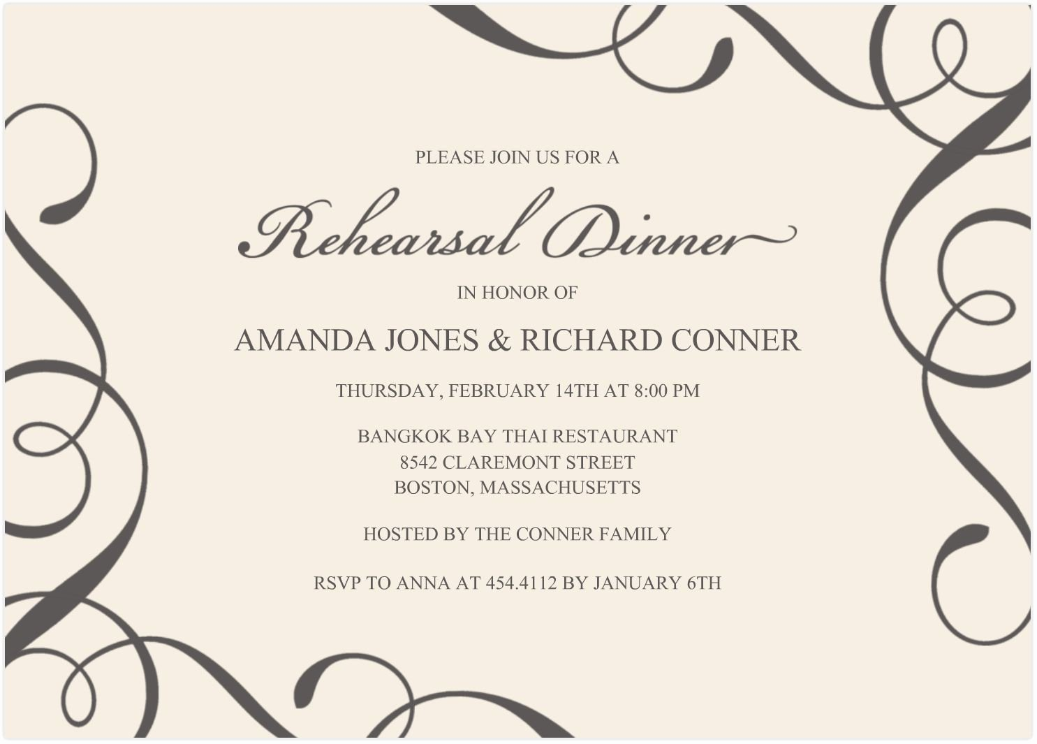 Dinner Invite Template Word Awesome Free Samples Wedding Invitation Cards