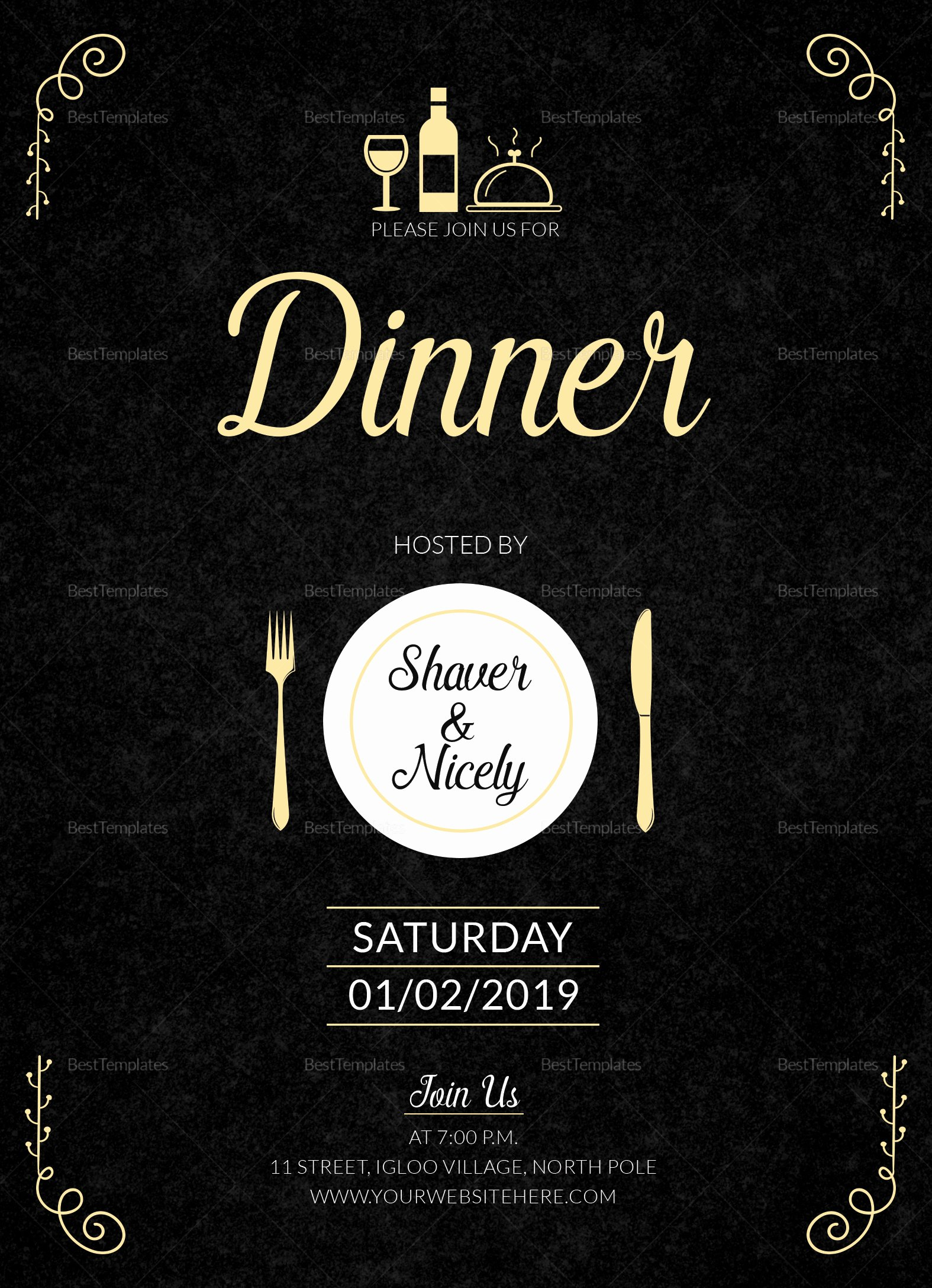 Dinner Invite Template Word Best Of Dinner Invitation Card Design Template In Word Psd Publisher