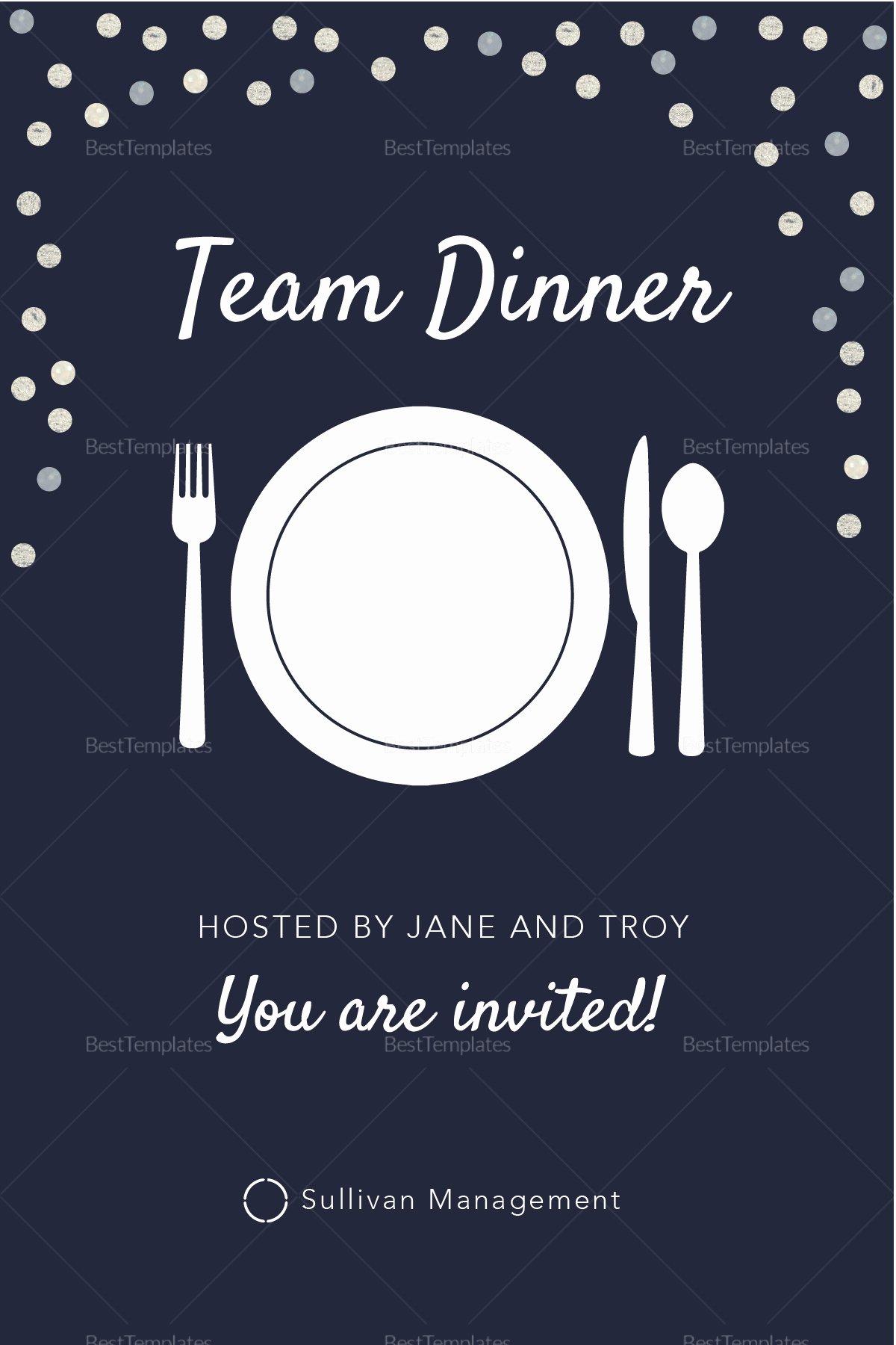 Dinner Invite Template Word Best Of Elegant Team Dinner Invitation Design Template In Psd