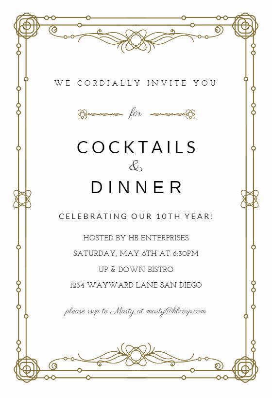 Dinner Invite Template Word Fresh Classic Border Business event Invitation Template Free