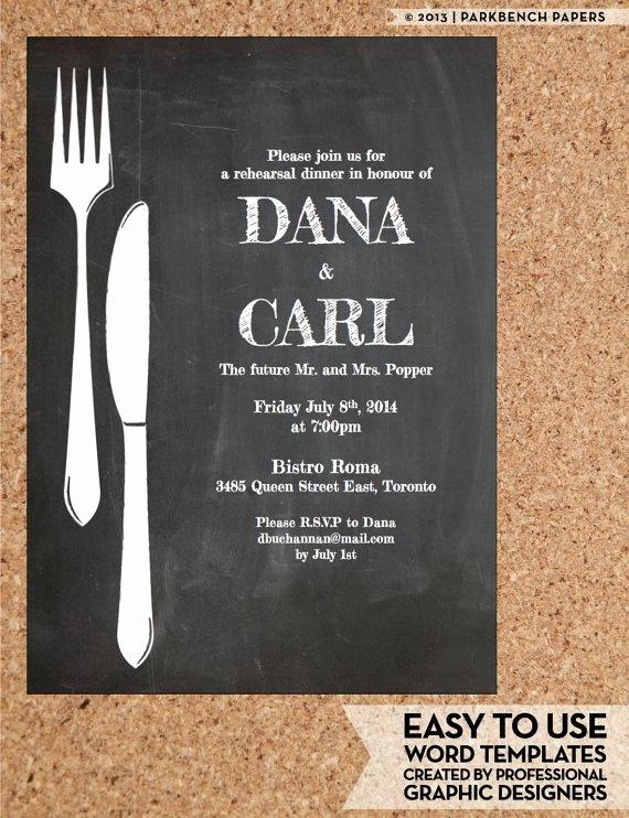 Dinner Invite Template Word Inspirational Rehearsal Dinner Invitation Chalkboard Chic Diy Word