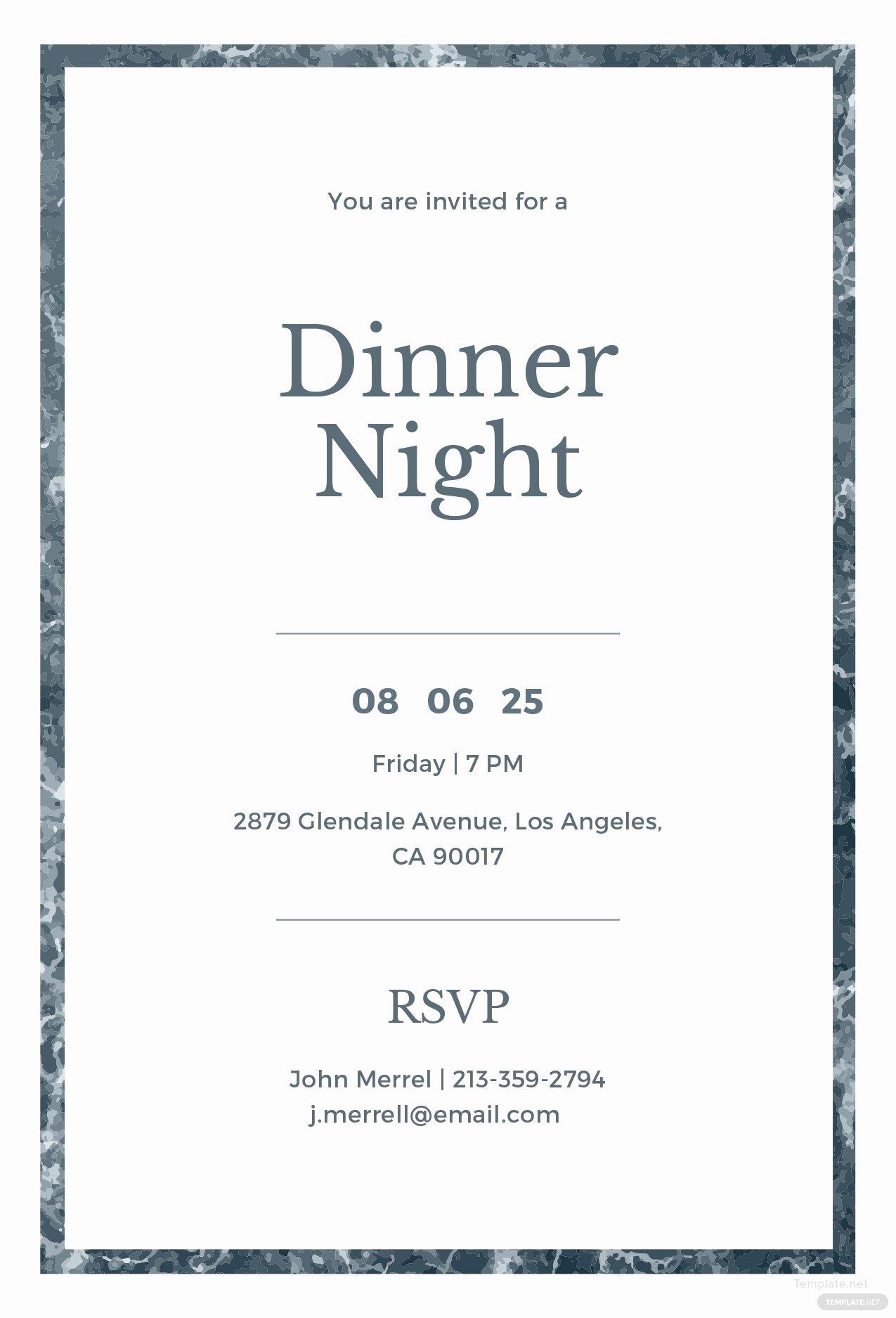 Dinner Invite Template Word Luxury Free Sample Dinner Invitation Template In Adobe