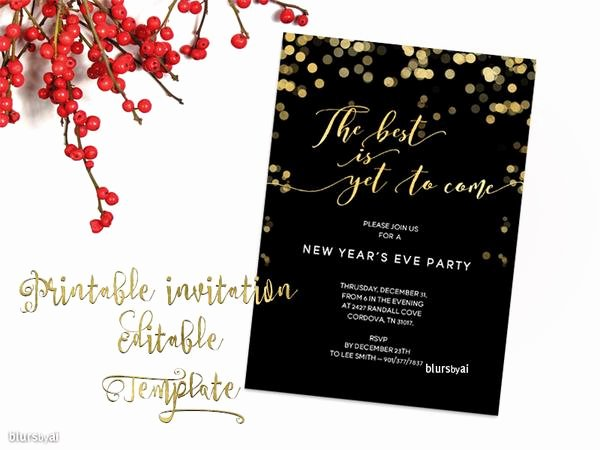 Dinner Invite Template Word New Printable New Year S Eve Party Invitation Template for