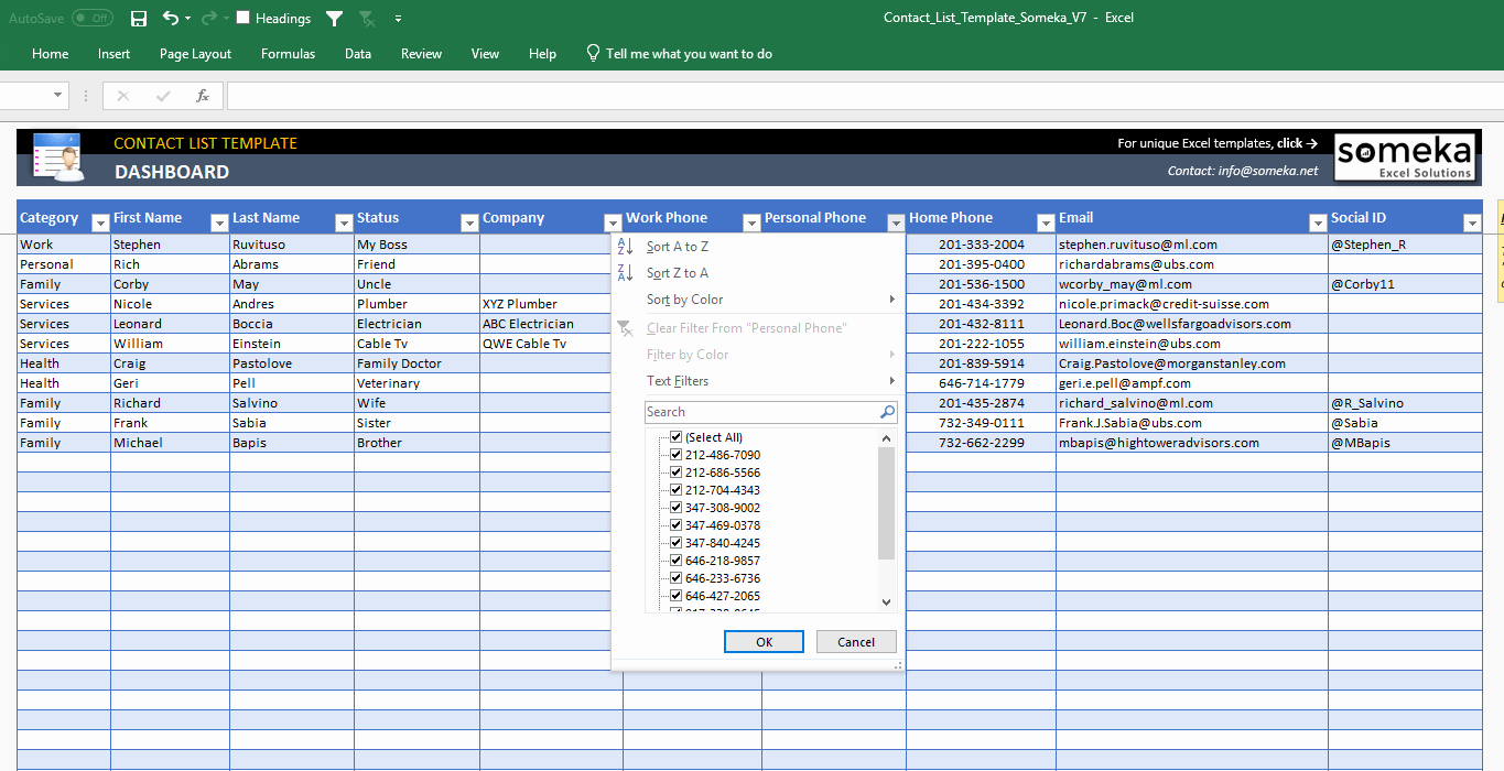 Directory Template Excel Lovely Contact List Template In Excel