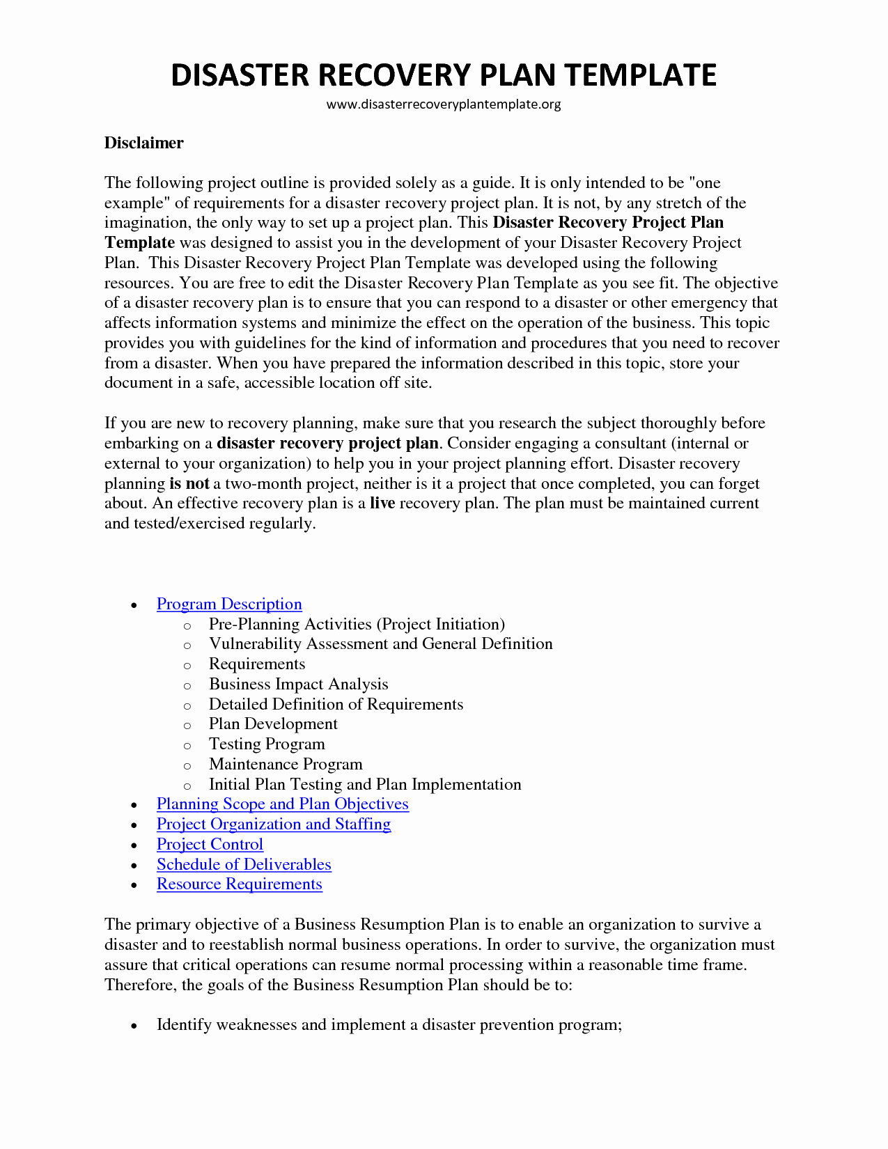 Disaster Recovery Plan Template Nist Elegant Example A Disaster Recovery Plan All Disaster