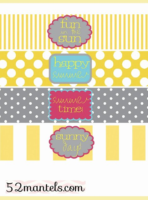 Diy Water Bottle Label Template Awesome 52 Mantels Diy Water Bottle Labels Plus A Free Printable
