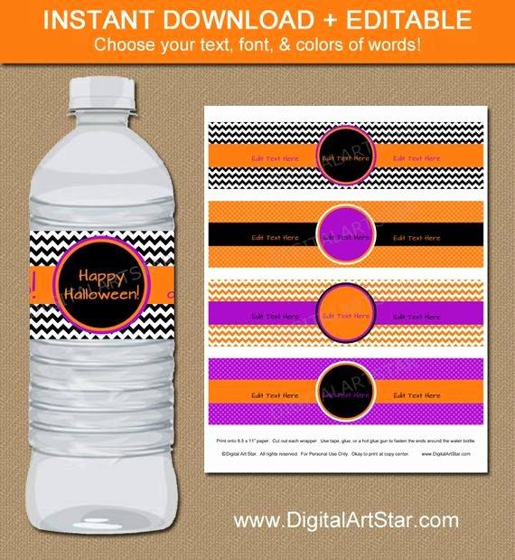 Diy Water Bottle Label Template Best Of Halloween Water Bottle Labels Editable Diy by Digitalartstar