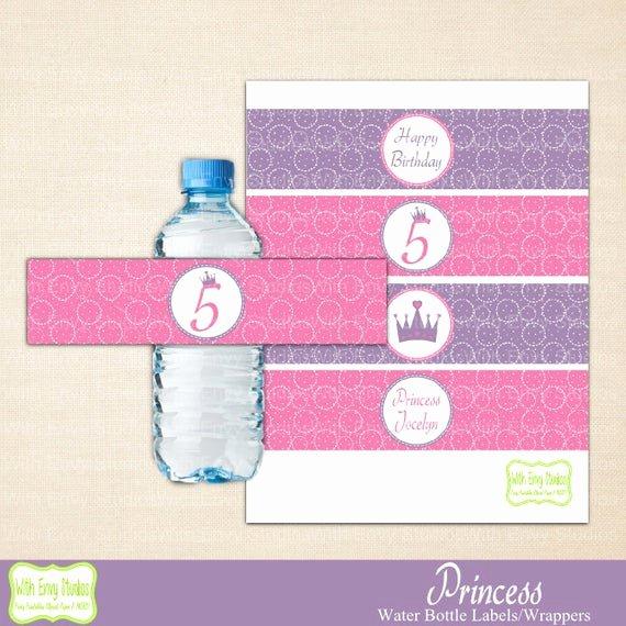 Diy Water Bottle Label Template Best Of Princess Water Bottle Labels Printable Water Bottle