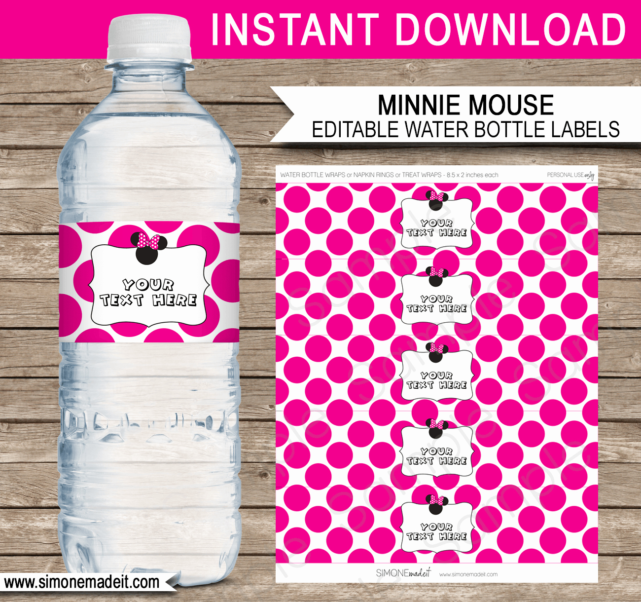 Diy Water Bottle Label Template Fresh Minnie Mouse Party Water Bottle Labels