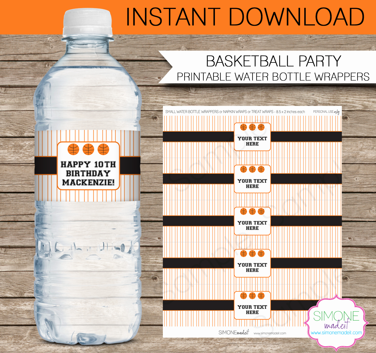 Diy Water Bottle Label Template Inspirational Basketball Party Water Bottle Labels