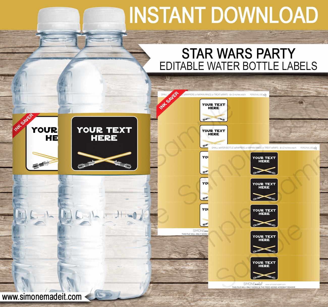 Diy Water Bottle Label Template Luxury Gold Star Wars Water Bottle Labels